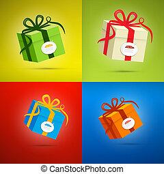 boîte, boîte, ensemble, coloré, cadeau, vecteur, présent