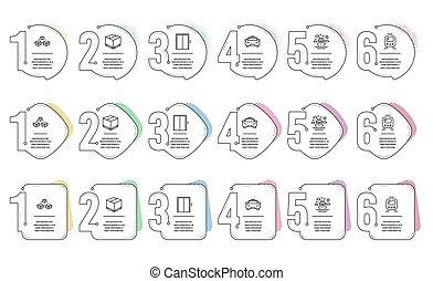 boîte, boîte, vecteur, paquet, icônes, train, expédition, envoyer, voyage, livraison, ascenseur, taxi, ascenseur, bateau, tram., set., signs.