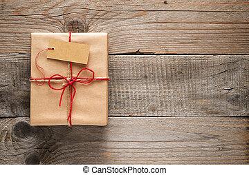 boîte, bois, étiquette, fond, cadeau