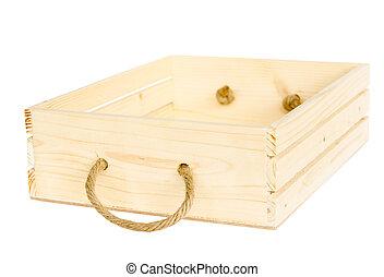 boîte, bois, blanc, isolé, fond