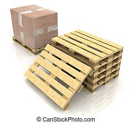 boîte, bois, carton, palette