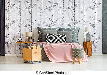 boîte bois, confortable, chambre à coucher