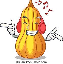 boîte, bois, courge, fruit, musique écouter, dessin animé