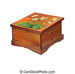 boîte bois, décoré, fleurs