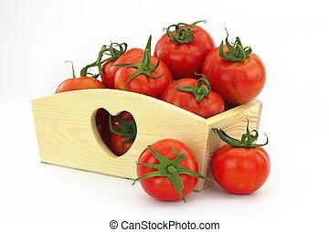 boîte bois, entiers, tomates
