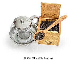 boîte, bois, feuilles, verre, cuillère, thé, théière