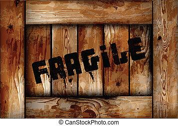 boîte bois, fragile, vecteur, arrière-plan.