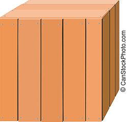 boîte, bois, illustration
