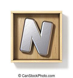 boîte, bois, métal, n, lettre, argent, 3d