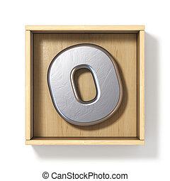 boîte, bois, métal, o, lettre, argent, 3d