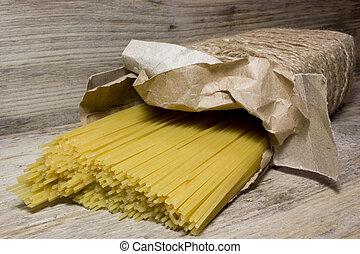 boîte, bois, métier, fond, pâtes, spaghetti