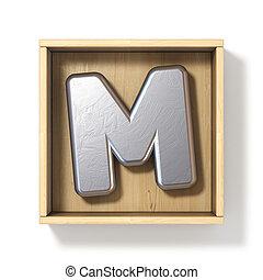 boîte, bois, m, métal, lettre, argent, 3d