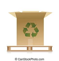 boîte, bois, recycler, illustration, palette