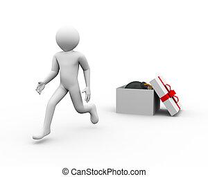 boîte, bombe, cadeau, courant, 3d, homme