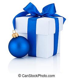 boîte, boule bleue, isolé, attaché, arc, blanc, wh, noël, ruban