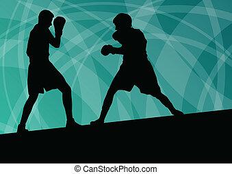 boîte, boxe, résumé, hommes, jeune, illustration,...