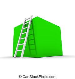 boîte, brillant, montée, vert, haut