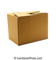 boîte, brun, blanc, isolé, fond