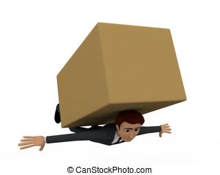 boîte, brun, concept, grand, collé, sous, homme, 3d