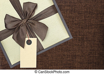 boîte, brun, etiquette don, fond, vide, ruban