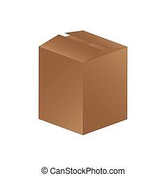 boîte, brun, fermé, icône