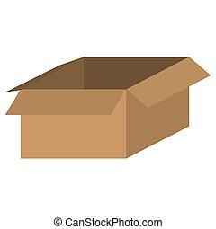 boîte, brun, icône