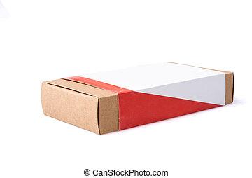 boîte, brun, isolé, fond, paquet