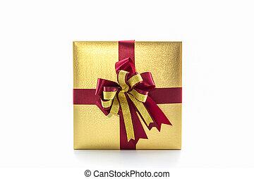 boîte, brun, or, cadeau, bow., ruban