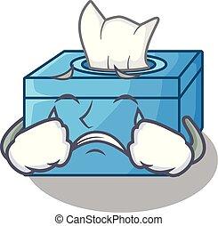 boîte, buffet, tissu, dessin animé, pleurer