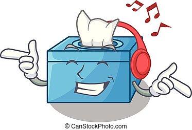 boîte, buffet, tissu, musique écouter, dessin animé