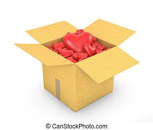 boîte, cœurs, carton, entiers