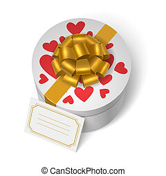 boîte, cœurs, valentines, rouges, présent