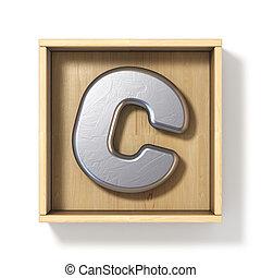 boîte, c, bois, métal, lettre, argent, 3d