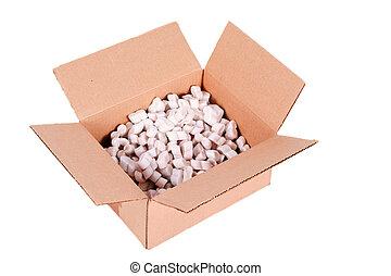 boîte, cacahuètes, styrofoam, expédition