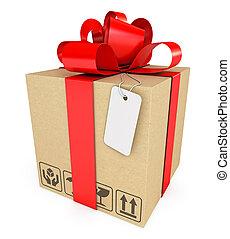 boîte, cadeau, étiquette