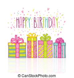 boîte, cadeau, anniversaire, confetti., présent, heureux