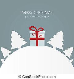boîte, cadeau, arbre, noël blanc, rouges