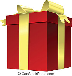 boîte, cadeau, arc or, vecteur, ruban rouge