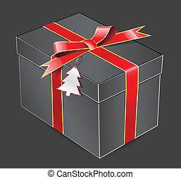 boîte, cadeau, arc rouge