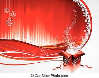 boîte, cadeau, arrière-plan., vecteur, conception, noël, rouges