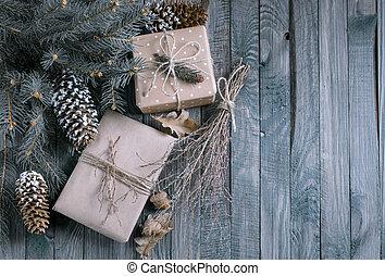 boîte, cadeau, bois, noël, fond, planches