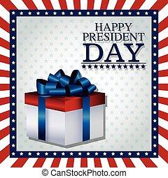 boîte, cadeau, cadre, drapeau, président, jour, ruban, heureux