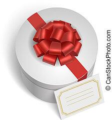 boîte, cadeau, classique, arc, ruban rouge