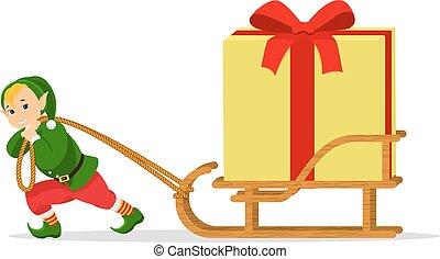 boîte, cadeau, elfe, dessin animé, vecteur, traîneau, noël