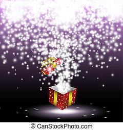boîte, cadeau, feux artifice, rouges