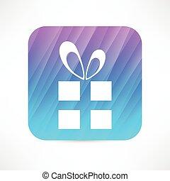 boîte-cadeau, icône, arc