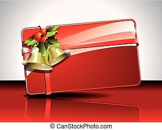 boîte, cadeau, illustration, arrière-plan., vecteur, noël, rouges