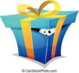 boîte, cadeau, intérieur, anniversaire, amusement, créature
