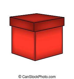 boîte, cadeau, isolé, illustration, symbole, arrière-plan., vecteur, icône, noël blanc, design.