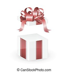 boîte, cadeau, isolé, vecteur, blanc rouge, ruban